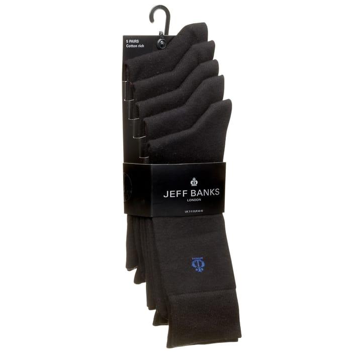 Jeff Banks Black Socks 5pk
