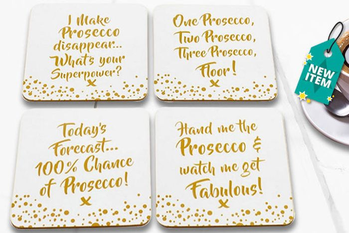 Set of 4 Prosecco Coasters