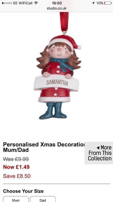 Personalised Christmas Tree Decs