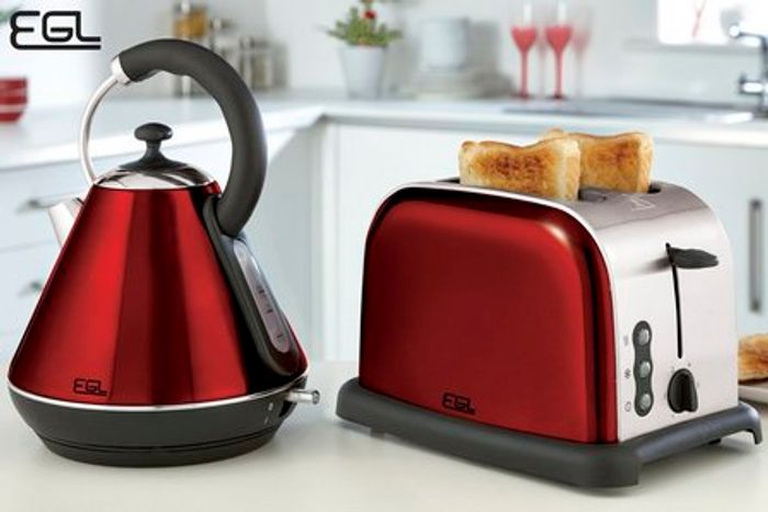 EGL Pyramid Kettle and 2-Slice Toaster Set - High Gloss Red