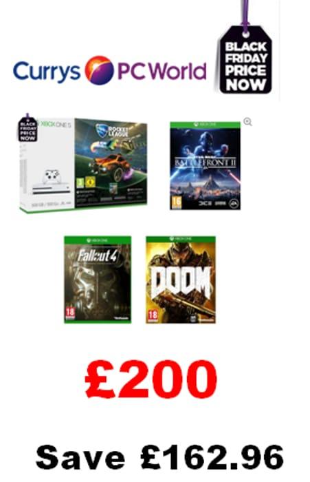 BEST BLACK FRIDAY XBOX ONE S BUNDLE Rocket League, Fallout 4, Doom,Battlefront 2
