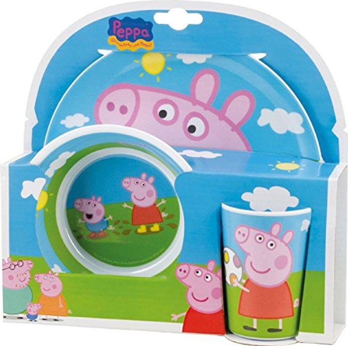 Peppa Pig Melamine Plate, Bowl and Cup Set
