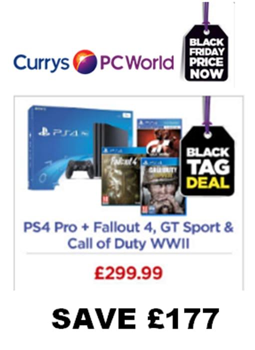 CURRYS BLACK FRIDAY BUNDLE! PS4 Pro + Fallout 4 + Gran Turismo Sport + COD WW11