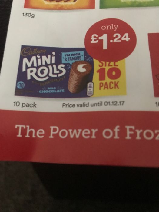 10 Pack Cadbury Mini Rolls Only £1:24 at Iceland