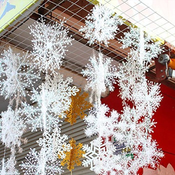 6 White Snowflake Decorations with Free Delivery