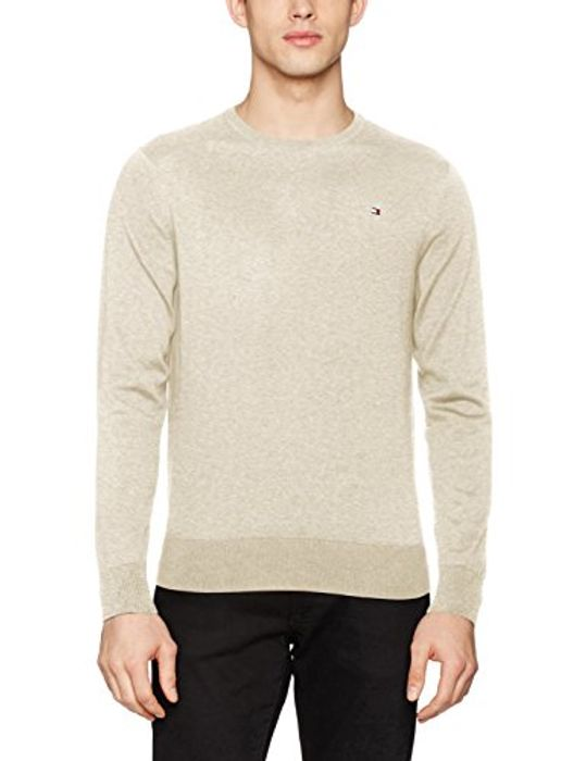 Tommy Hilfiger Men's Plaited Crew Neck Cotton/Silk Jumper (Limited Sizes)