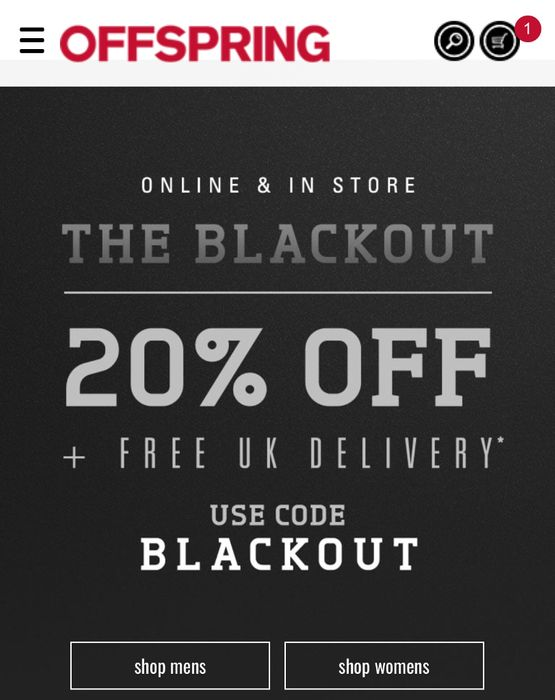20% off and Free Delivery at Offspring