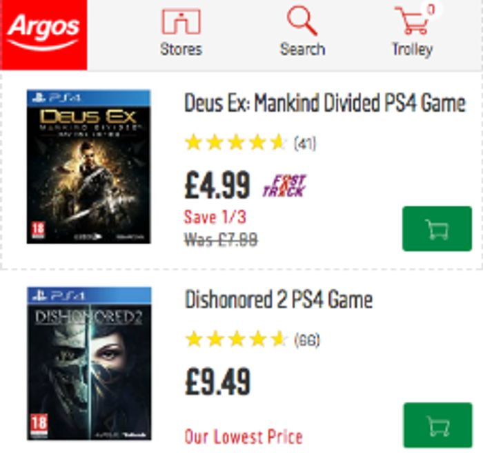 Older PS4 Games from £4.99 at Argos Black Friday