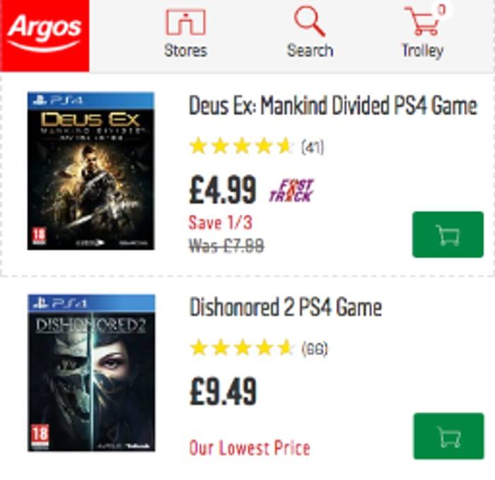 Older PS4 Games from £4.99 at Argos Black Friday