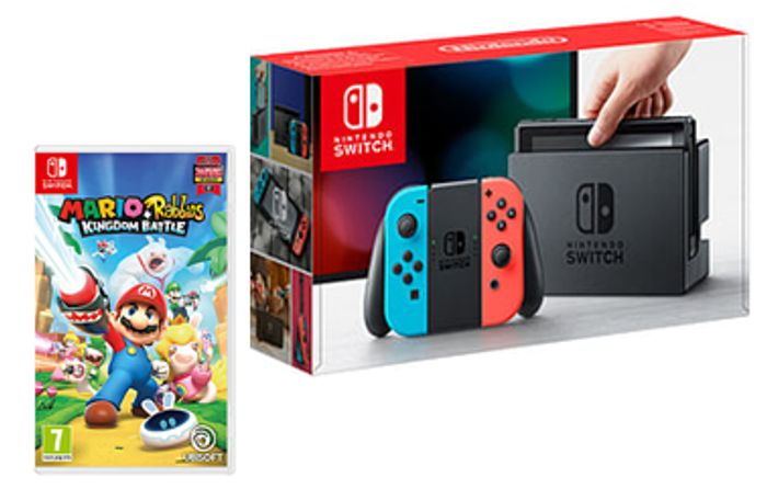 BUNDLE DEAL - Nintendo Switch Neon + Mario and Rabbids Kingdom Battle