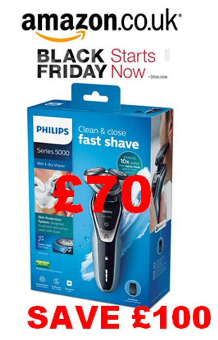 Save £100. Philips Series 5000 Wet and Dry Men's Electric Shaver