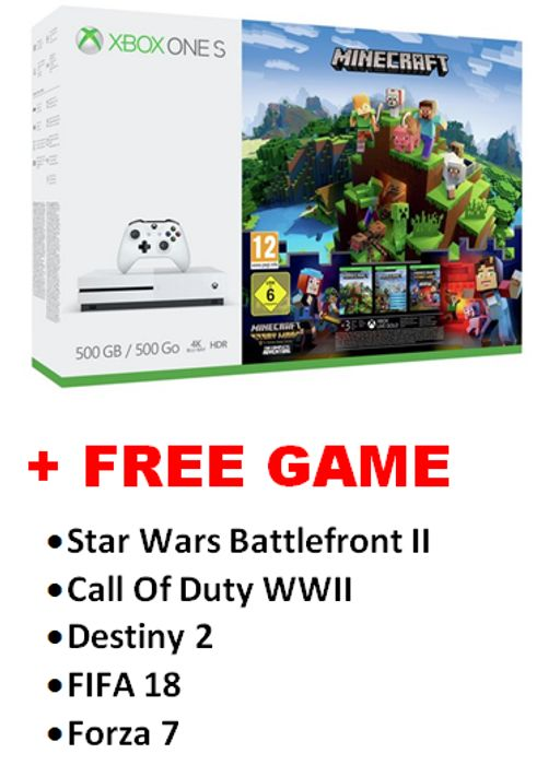 XBox One S Minecraft Bundle + FREE GAME. Offer Ends SATURDAY 25TH