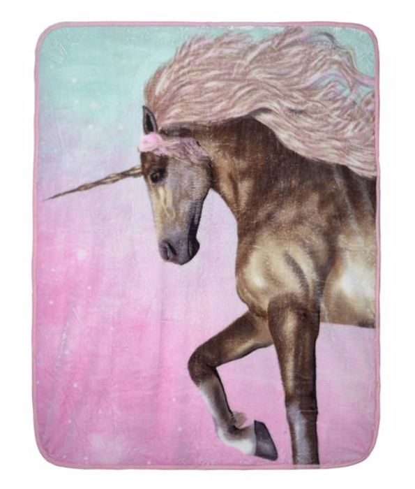 Super Soft Unicorn Design Faux Mink Throw