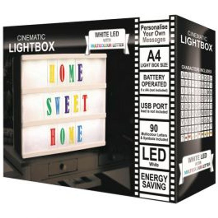 LED Cinematic A4 Light Box with Multicoloured Letters