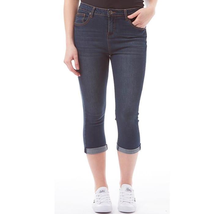 Board Angels Womens Cropped Denim Jeans Denim