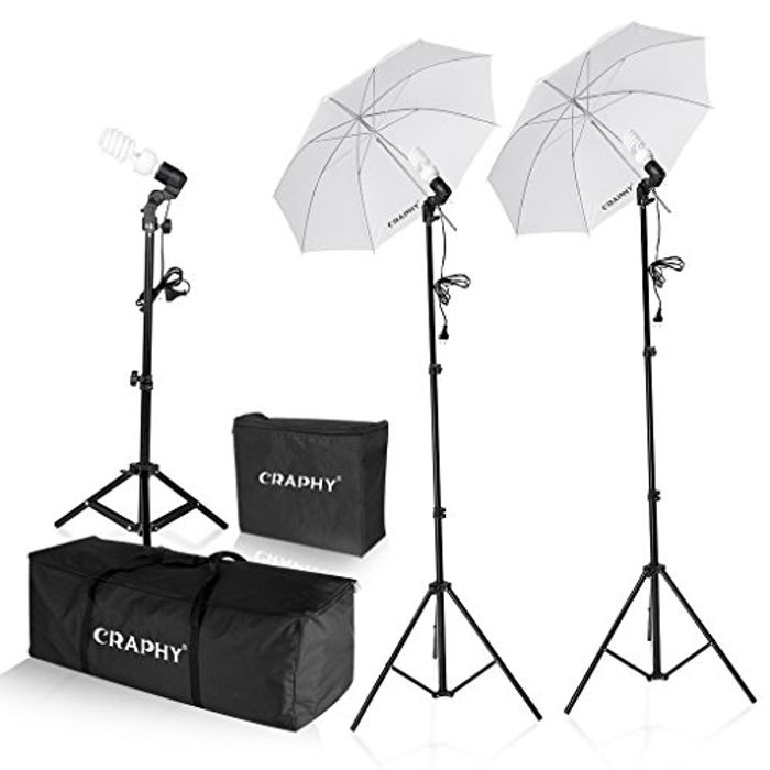 "Photo Studio 600W Day Light 2x 33"" Umbrella Lights for £39"