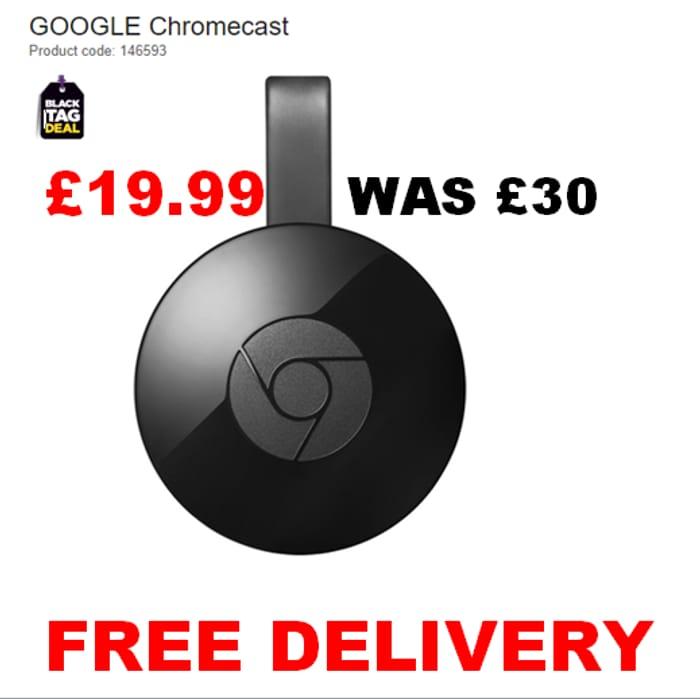 GOOGLE Chromecast save £10. FREE DELIVERY & NOW TV Sky Cinema Pass