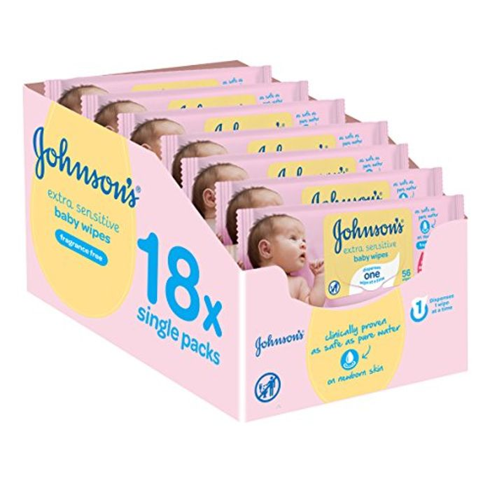 Johnson's Baby Extra Sensitive Fragrance Free Wipes - Pack of 18