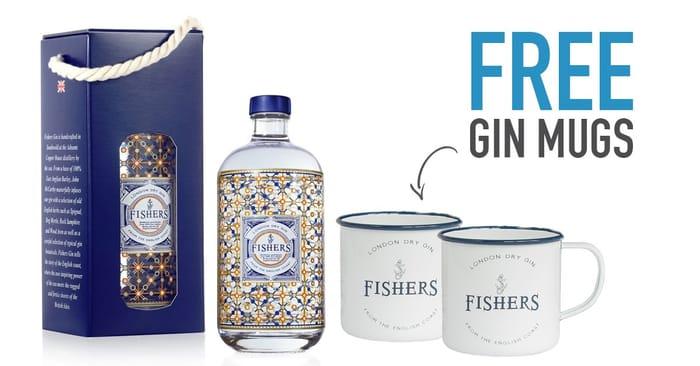 Enjoy FishersGin with 2 X FREE Gin Mugs.