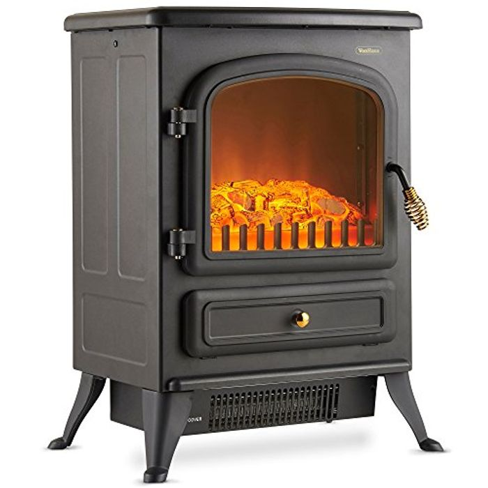 VonHaus Electric Fireplace Stove Heater with Flame Effect Free Delivery