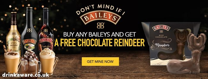 Buy Any Bottle of Baileys & Get a FREE Chocolate Reindeer!
