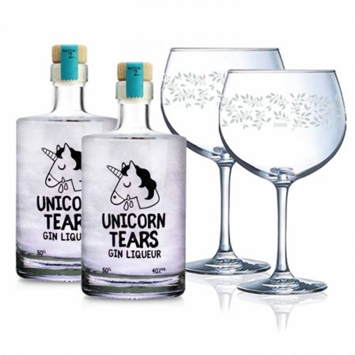 Bundle of Two Unicorn Tears Gin Liqueurs with 2 X FREE G&T Balloon Glasses