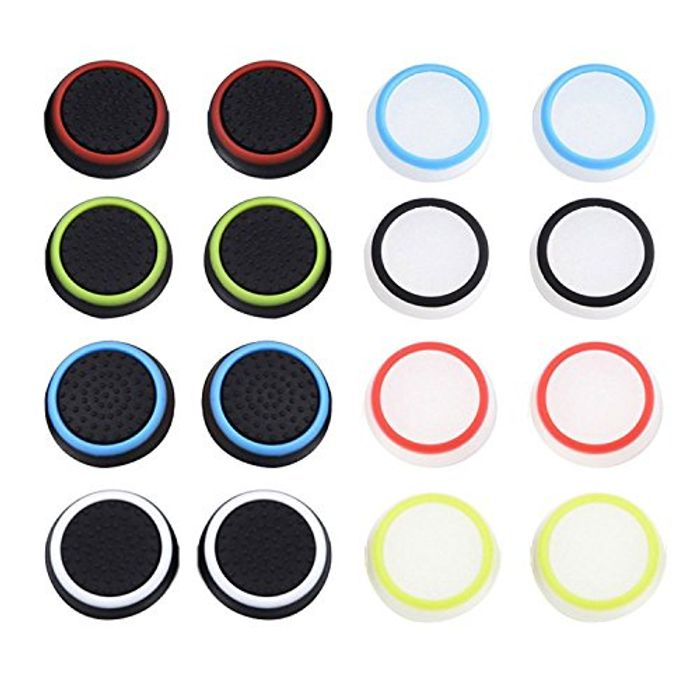 Controller Grip Caps for PS4, Xbox 360, PS3 Controllers, 8 Pairs