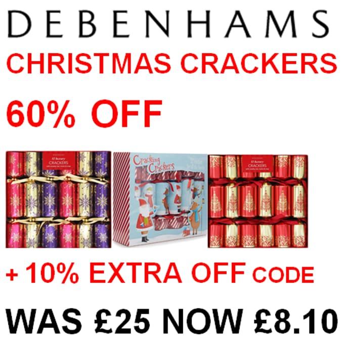60% OFF Christmas Crackers PLUS Extra 10% OFF Code at Debenhams