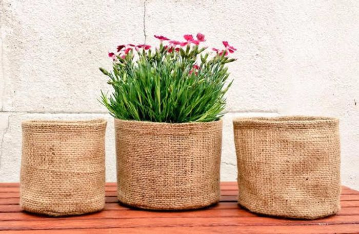 RETRO JUTE POT Hessian Sack round Burlap Planter Garden Organiser Outdoor Indoor