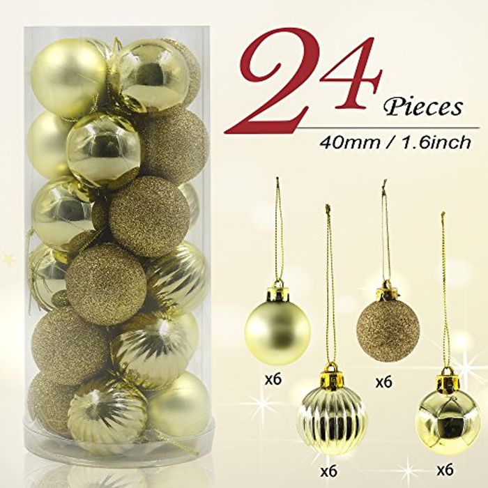 Valery Madelyn 24 Pieces Gold Shatterproof Baubles.