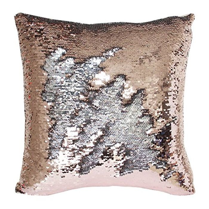 Rose Gold and Silver Sequin Cushion Case