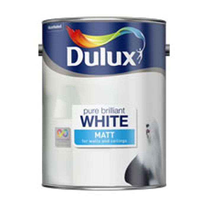 Dulux Matt Emulsion Paint Pure Brilliant White 5ltr