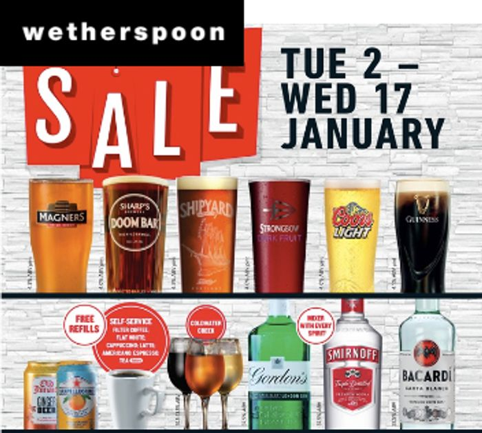 Wetherspoons January Drinks Sale!