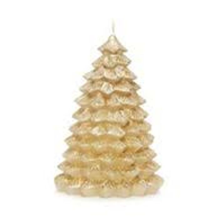 Gold Glitter Christmas Tree Candle