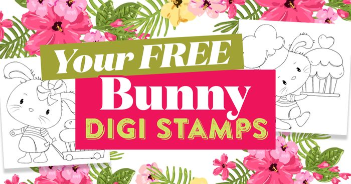 FREE Bunny Digi Stamps to Download and Print