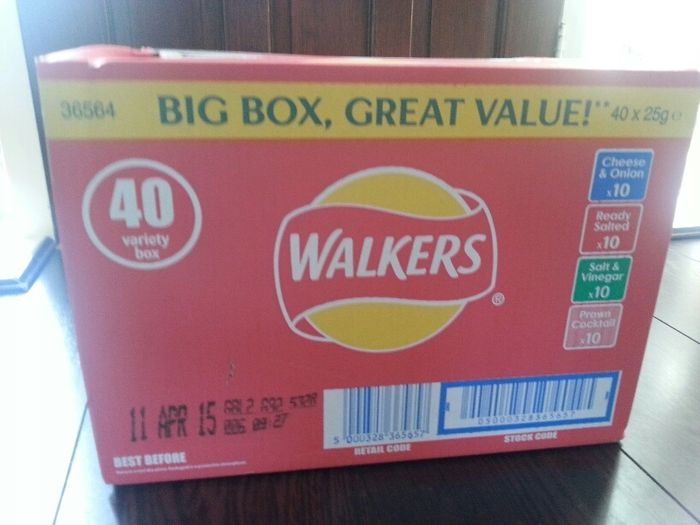 Box of 40 Walkers Crisps in Store at Tesco