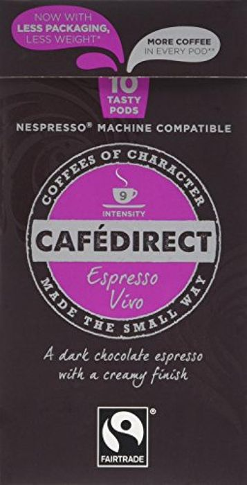 Cafedirect Fairtrade Nespresso Compatible Coffee Capsules Espresso Vivo 10 Pods