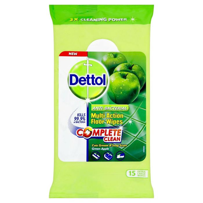 Dettol Floor Cleaning Wipes Green Apple Extra Large 15pk
