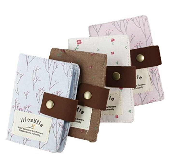 Country Style Canvas Pocket Card Holder Pouch 20 Slots (Pink)