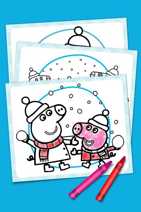 Free Peppa Pig winter colouring in pages to download and print