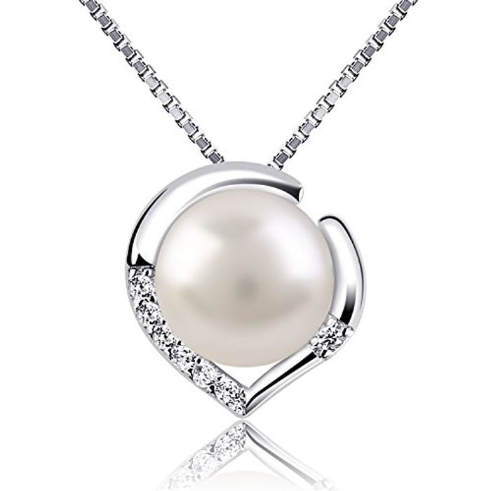 Silver Necklace Pearl Heart Pendant Necklaces