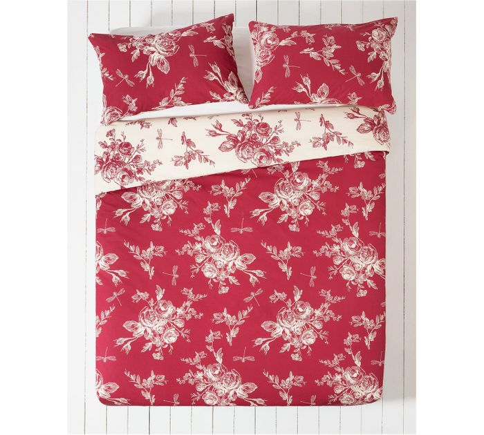 Collection Lottie Red and Cream Bedding Set - Kingsize