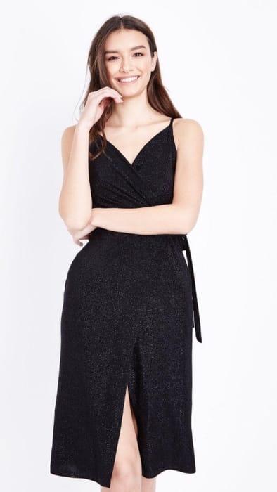 Black Glitter Wrap Front Dress