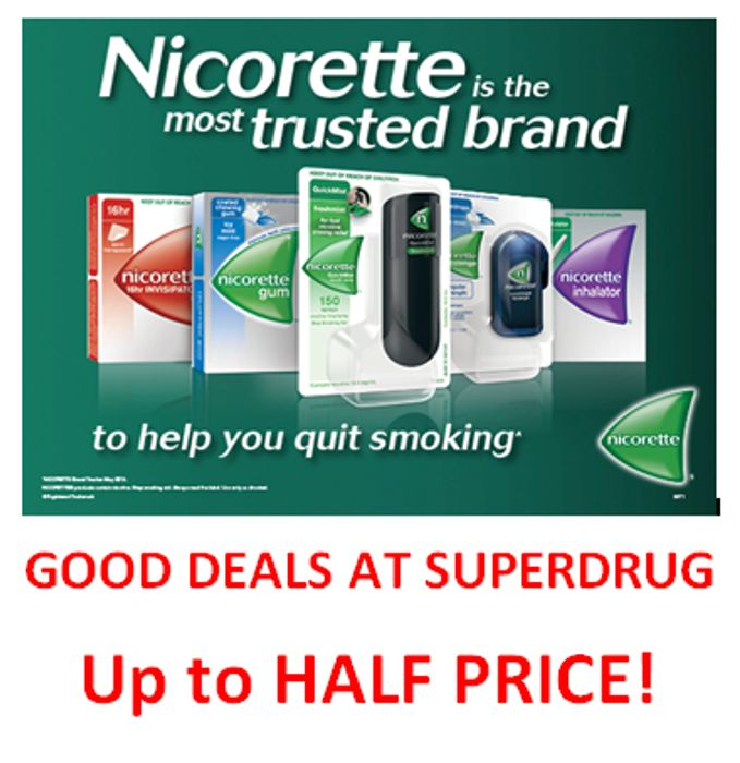 Nicorette Deals at Superdrug - up to HALF PRICE