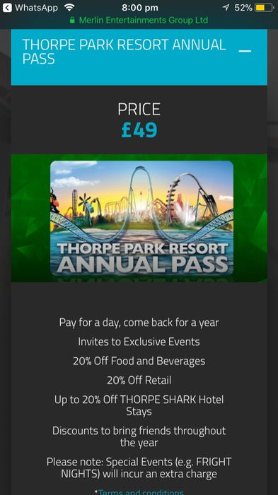 Thorpe Park Annual Pass Only £49!!!!