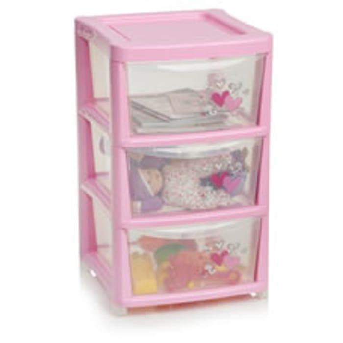 Wilko Storage Tower Pink 3 Drawer Free C&C