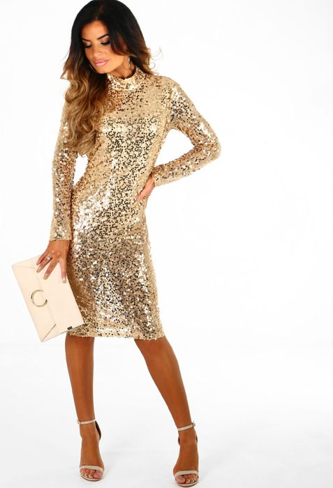 Don't Blame Me Gold Sequin Backless Long Sleeve Midi Dress