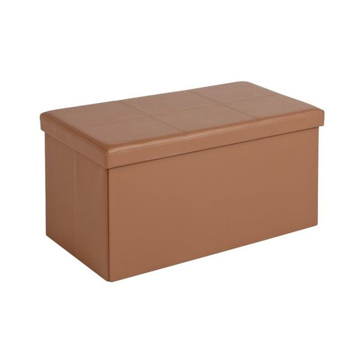 HOME Large Faux Leather Ottoman - Tan