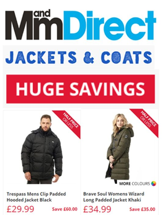 CHEAP Jackets and Coats. HUGE SAVINGS up to 80% off at M&M Direct