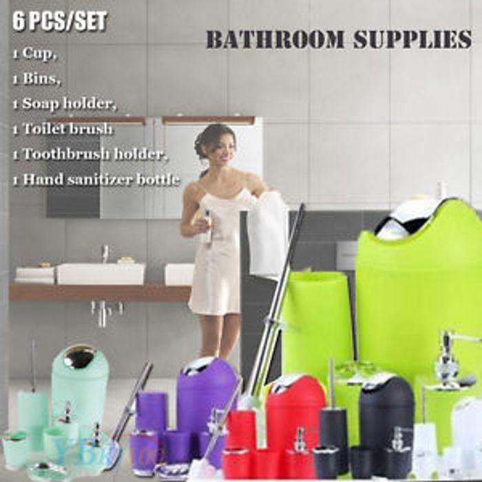 NEW 6PCS Bathroom Accessory Set Bin Soap Dish Cup Toothbrush Holder Toilet Brush